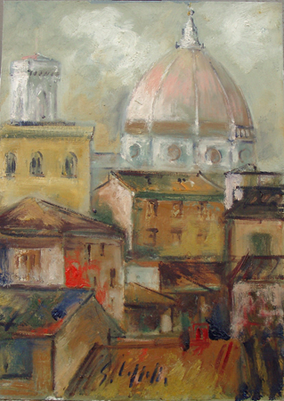 Art work by Emanuele Cappello Cupola del Brunelleschi e campanile di Giotto, Firenze - oil canvas