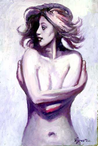 Quadro di Luigi Pignataro Nudo viola - olio faesite