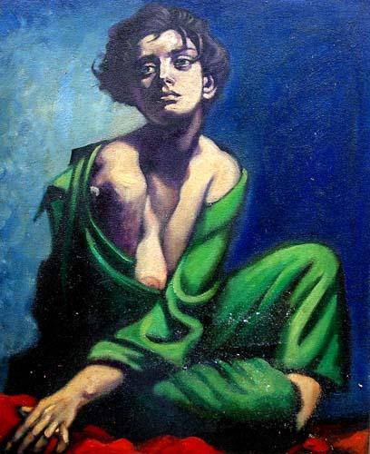 Quadro di Luigi Pignataro Ragazza in verde - olio faesite