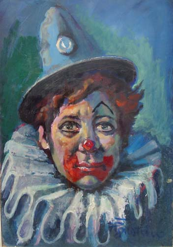 Art work by Luigi Pignataro Clown - oil hardboard