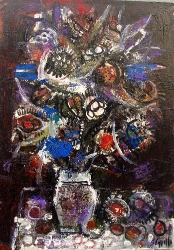 Quadro di Emanuele Cappello Vaso di fiori - olio cartone telato