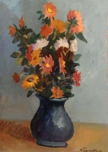 Quadro di Luigi Pignataro Vaso di fiori - olio cartone
