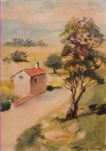 Art work by Luigi Pignataro Strada in campagna - oil paper on table
