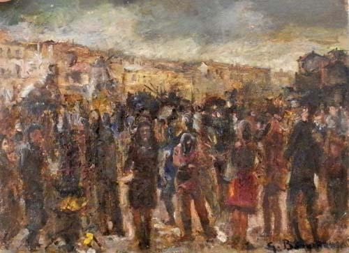 Quadro di Guido Borgianni Gente in piazza - olio cartone
