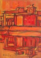Work of Dino Migliorini - Paesaggio monocromo oil hardboard