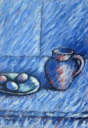 Art work by Dino Migliorini Composizione blu - oil hardboard