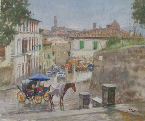 Art work by Graziano Marsili Pioggia a San Niccolò - oil canvas