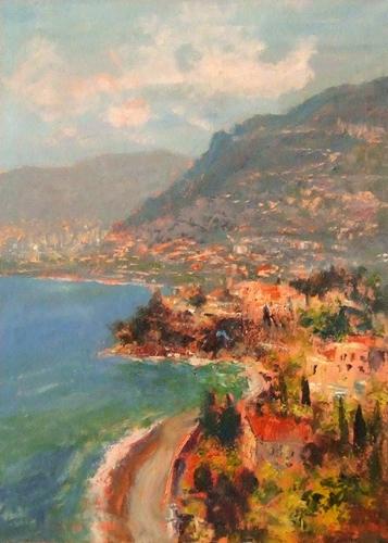 Quadro di Emilio Comba Paesaggio costiero - olio tela