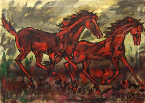 Art work by Teo Russo Cavalli al galoppo - oil canvas