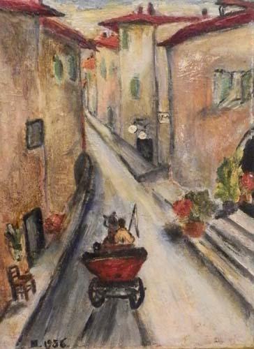 Quadro di  Anonimo Carrozzella sulla strada - olio tela