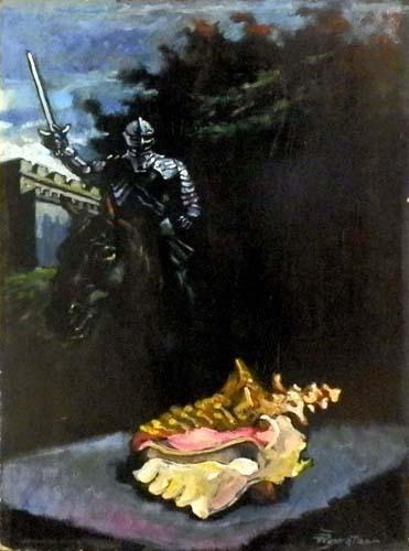 Quadro di Luigi Pignataro Cavaliere e Conchiglia - olio tavola