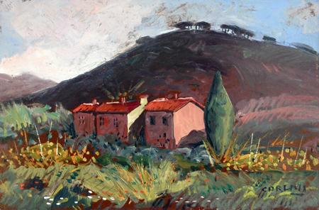 Quadro di  Carlini Paesaggio - olio faesite