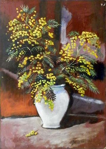 Quadro di Luigi Pignataro Vaso di fiori - olio tavola
