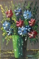 Quadro di Eligio Di Volo - Vaso di fiori olio tavola