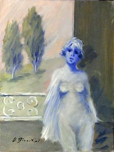 Art work by Umberto Bianchini Figurina - oil canvas
