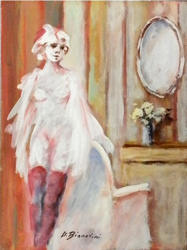 Quadro di Umberto Bianchini Calze rosse - mista tavola