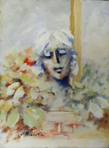 Quadro di Umberto Bianchini Volto e fiori - mista faesite