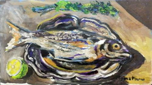 Quadro di Luigi Pignataro Natura morta con pesce - olio cartone