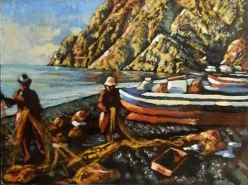 Quadro di Luigi Pignataro Pescatori - olio faesite