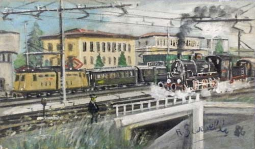 Art work by Romano Scarzelli Stazione Empoli - oil canvas cardboard