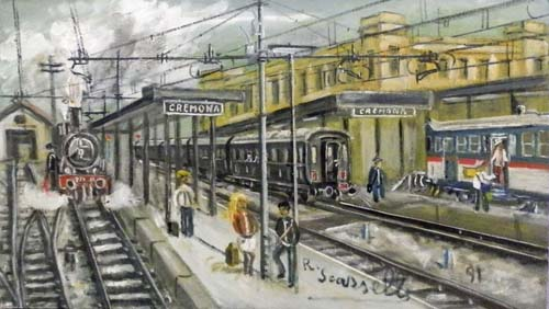 Art work by Romano Scarzelli Stazione Cremona - oil canvas cardboard