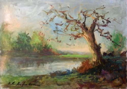 Quadro di Osman Lorenzo De Scolari Paesaggio - olio tavola