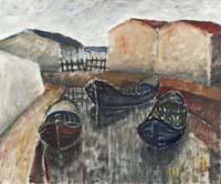 Quadro di firma Illeggibile - Barche olio tavola
