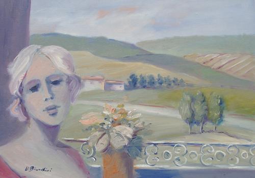 Quadro di Umberto Bianchini Veduta - olio tela