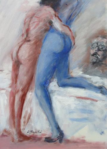 Quadro di Umberto Bianchini Spettacolino - olio tela