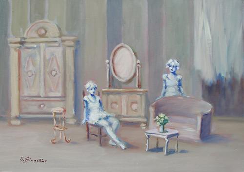 Quadro di Umberto Bianchini Salotto - Pittori contemporanei galleria Firenze Art