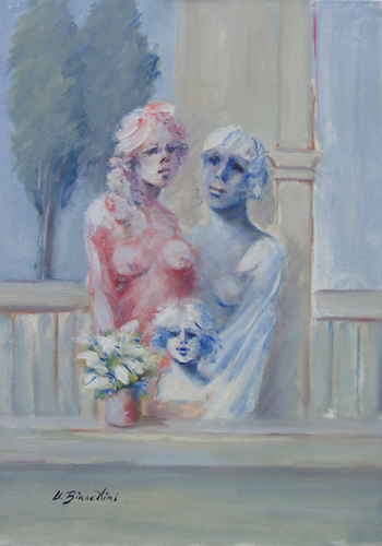 Art work by Umberto Bianchini Trio femminile - oil canvas