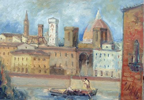 Quadro di Emanuele Cappello Lungarno fiorentino - olio tela