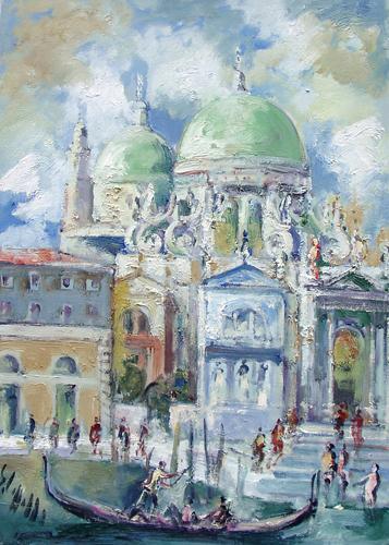 Quadro di Emanuele Cappello Basilica di Santa Maria della Salute, Venezia  - olio tela