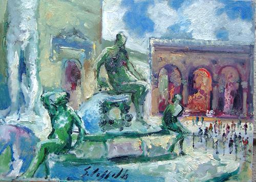 Quadro di Emanuele Cappello Fontana del Nettuno in Piazza Signoria - olio tela