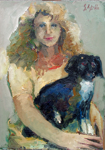 Art work by Emanuele Cappello Ritratto con cane - oil canvas