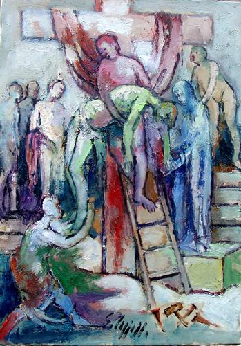 Quadro di Emanuele Cappello Deposizione - olio tela