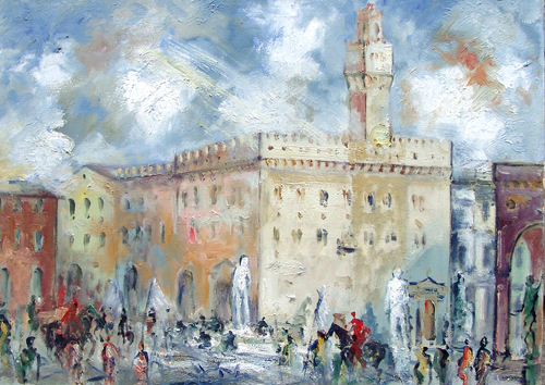 Art work by Emanuele Cappello Piazza Signoria - oil canvas
