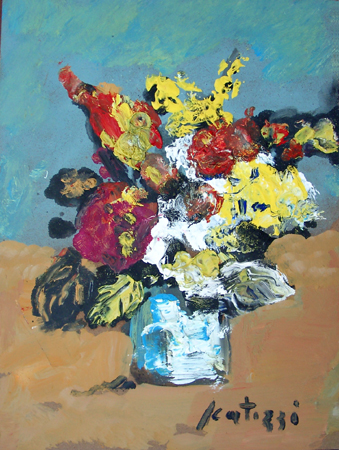 Art work by Sergio Scatizzi Vaso di fiori - oil table