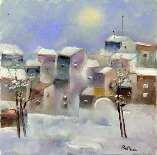 Art work by Lido Bettarini Nevicata con case - oil canvas
