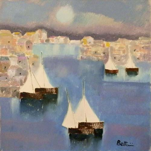 Art work by Lido Bettarini Marina con vele - oil canvas