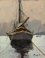 Quadro di Claudio da Firenze  Barca al tramonto