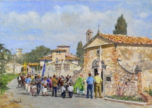 Art work by Graziano Marsili Processione a Tignano in Chianti - oil canvas
