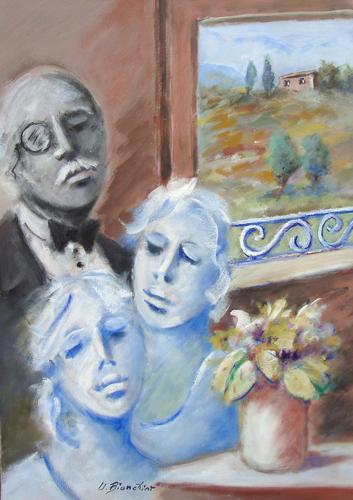 Quadro di Umberto Bianchini Interno con finestra - olio tela
