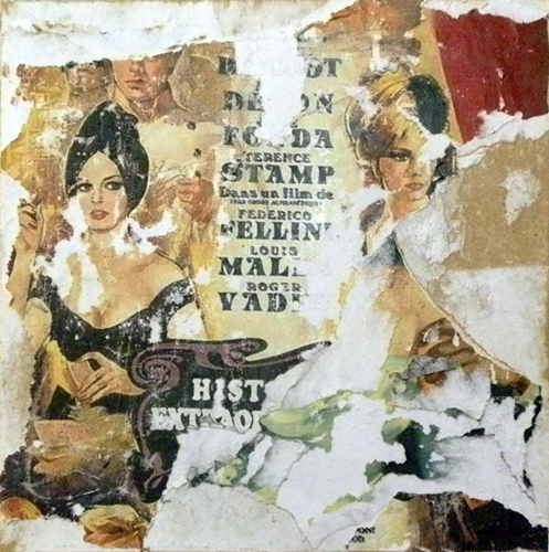 Quadro di Andrea Tirinnanzi Omaggio a Fellini - decollage tavola