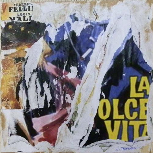 Quadro di Andrea Tirinnanzi La Dolce Vita  - decollage carta su tavola