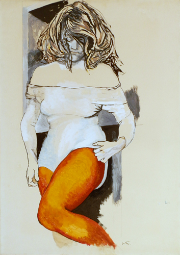 Art work by Renato Guttuso Figura di donna con collant e body - acrylic paper on canvas