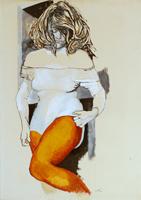 Quadro di Renato Guttuso  Figura di donna con collant e body