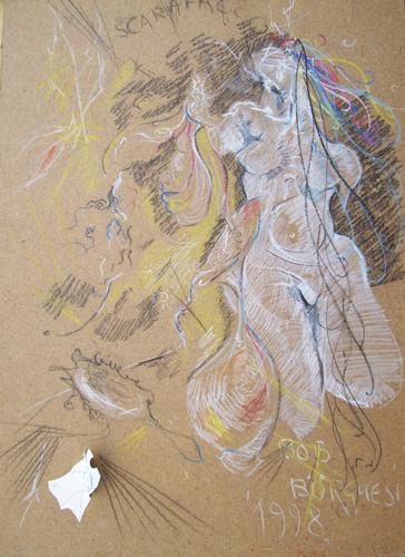 Art work by Bruno (Bob) Borghesi Figura - mixed hardboard