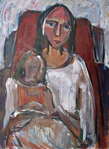 Quadro di Giorgio Polykratis Maternità - olio tela