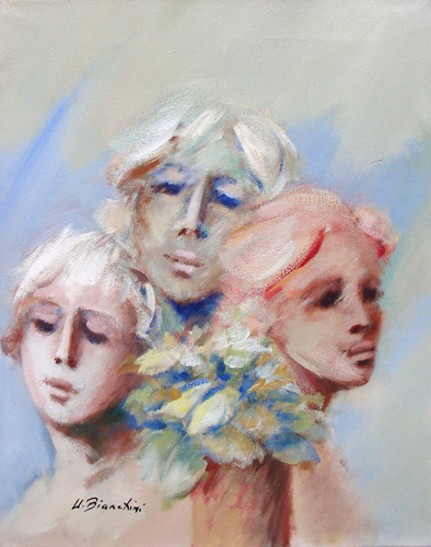 Quadro di Umberto Bianchini Volti - mista tela